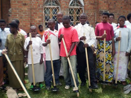 Children with farming equipment