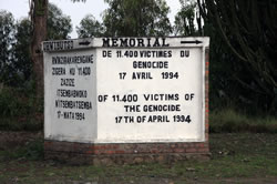 Signpost to a genocide memorial near a church in Kibuye