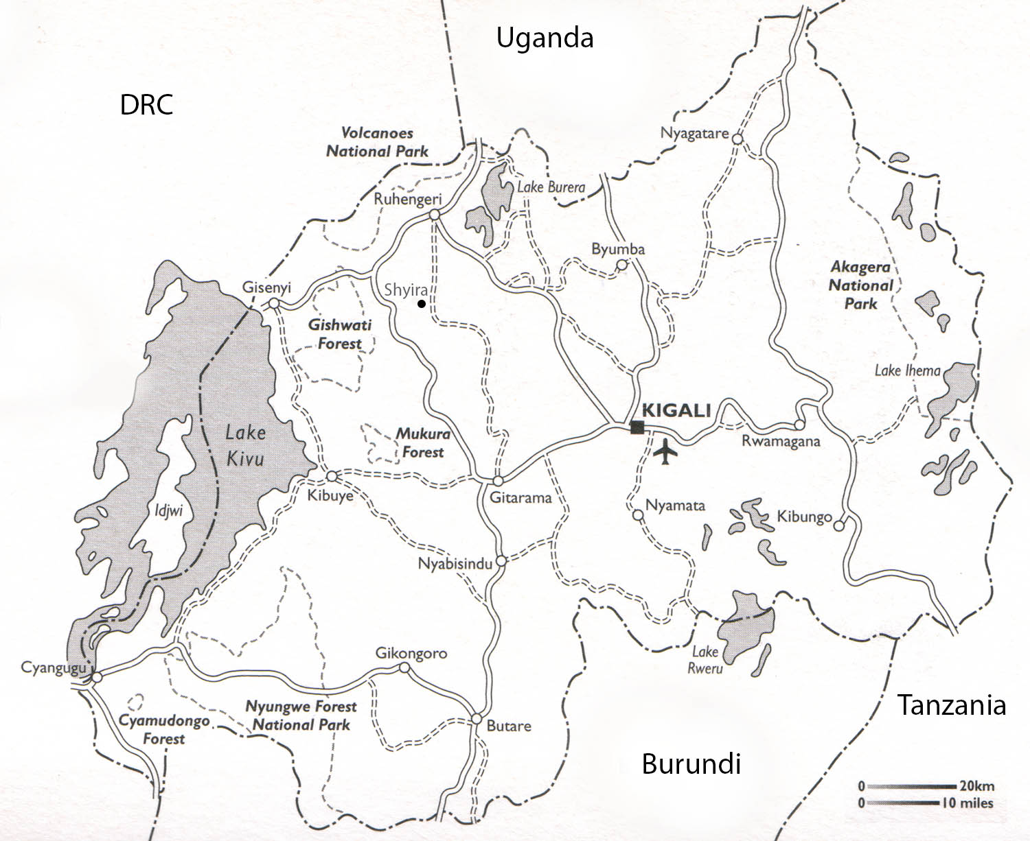 Introduction to rwandan geography view map on a larger scale sciox Gallery